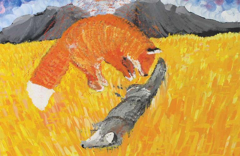 FOX SAVES COYOTE BY QUINTON DECKER
