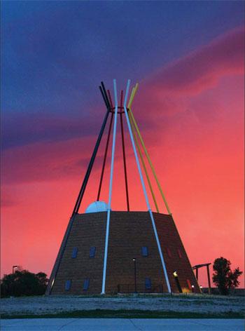 STANDING TALL. The Lakota Studies Tipi at Sinte Gleska University. Photo by Jack Herman