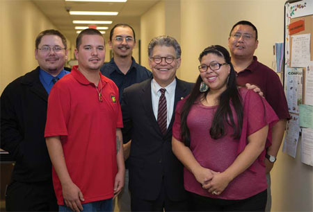 LLTC STUDENTS JOIN FRANKEN FANS. From left: Robert Jaspers, Al Boswell, Lucas Bratvold, Sen. Al Franken, Veronica Kingbird, and Jonas Northbird.
