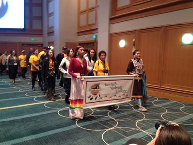 PARADE OF FLAGS AT AIHEC STUDENT CONFERENCE OPENING CELEBRATIONS